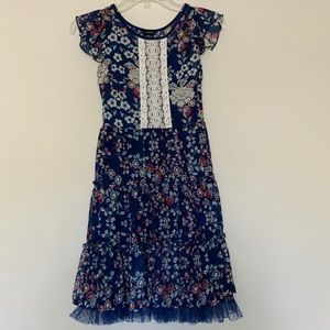 Zunie Girls Butterfly Sleeve Tiered Skirt Dress